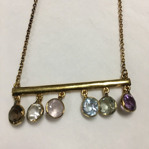SEMI-PRECIOUS STONES ON BAR NECKLACE
