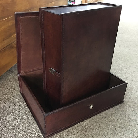 DARK LEATHER DOCUMENT BOX