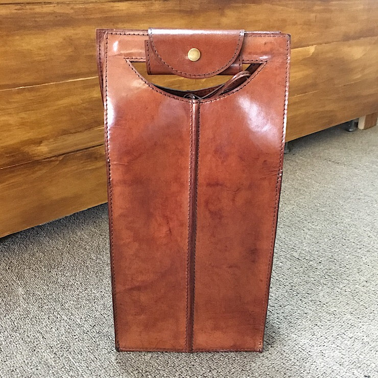 TAN LEATHER DOUBLE WINE BOTTLE HOLDER