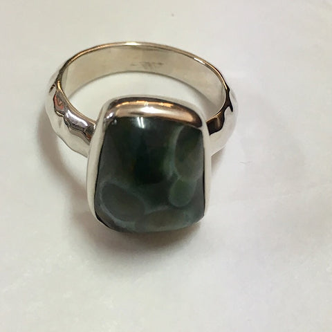 OCEAN JASPER STONE ON STERLING SILVER RING