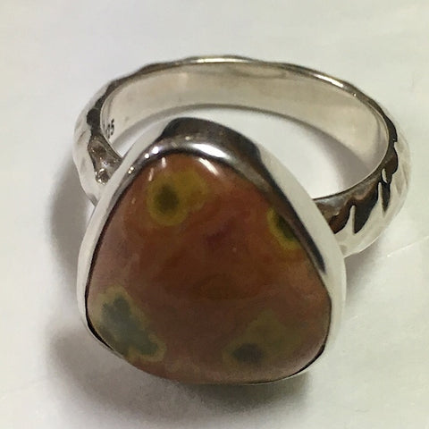 UNIQUE OCEAN JASPER AND STERLING SILVER RING