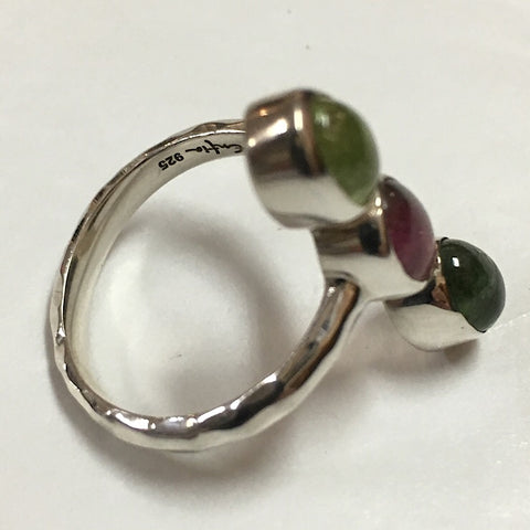 PINK AND GREEN TOURMALINE 3-STONE RING