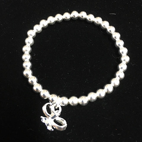 STERLING SILVER BABY BRACELET WITH BOW PENDANT