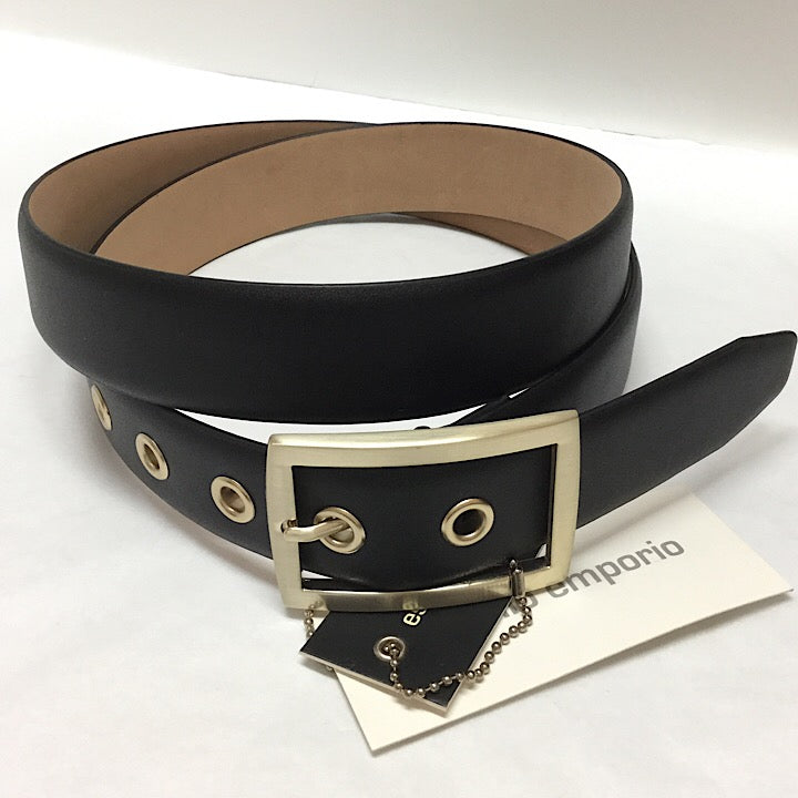 BLACK LEATHER BELT MATT GOLD BUCKLE