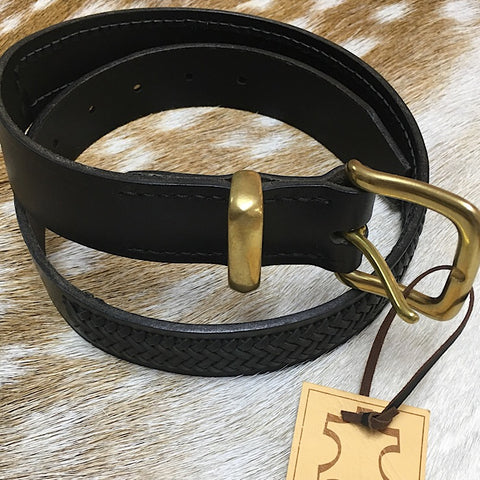 BLACK LEATHER BELT 30 INCH WAIST