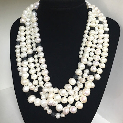 PEARLS, CRYSTALS, UNPOLISHED ONYX NECKLACE