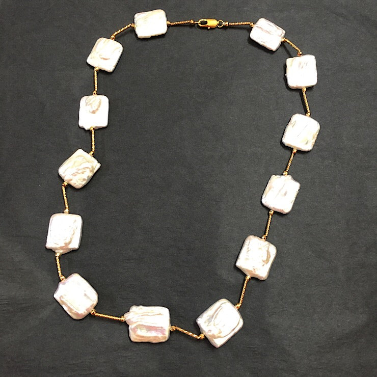 SQUARE FRESHWATER PEARLS NICKEL FREE GOLD PLATED BARS SHORT