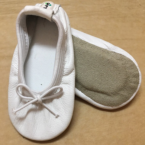 ANGELIC WHITE LEATHER BABY BALLET SLIPPERS SMALL