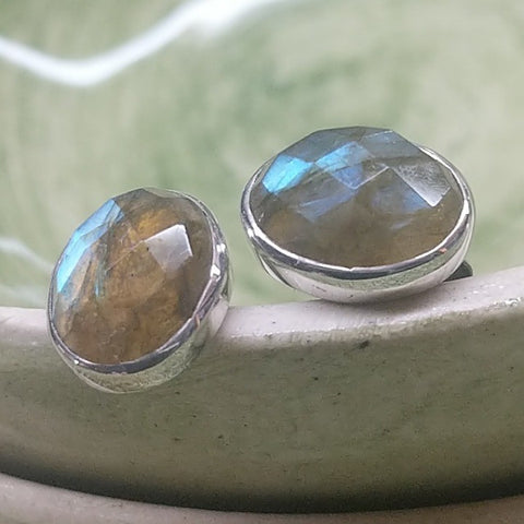 LABRADORITE STUD EARRINGS MADAGASCAR