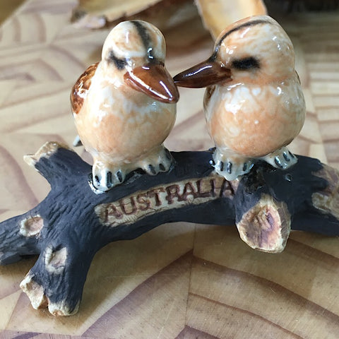 PORCELAIN TRINKET KOOKABURRAS ON A BRANCH