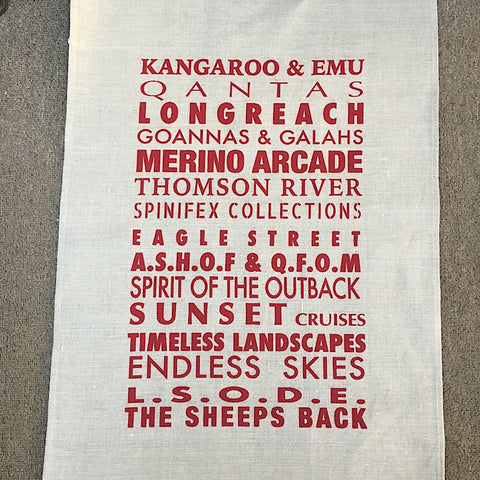 LONGREACH TEA TOWEL WITH RED PRINT