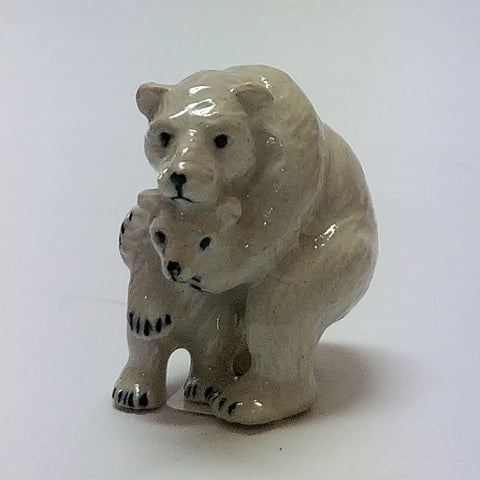 PORCELAIN TRINKET POLAR BEAR WITH BABY