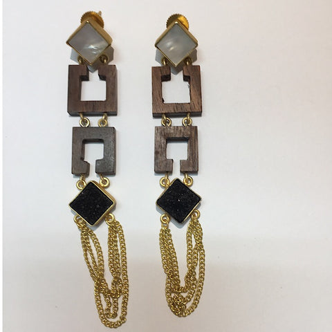 MOTHER OF PEARL, WOOD, DRUZY ONYX GOLD CHAIN EARRINGS