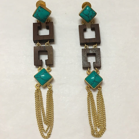 TURQUOISE WOOD EARRINGS