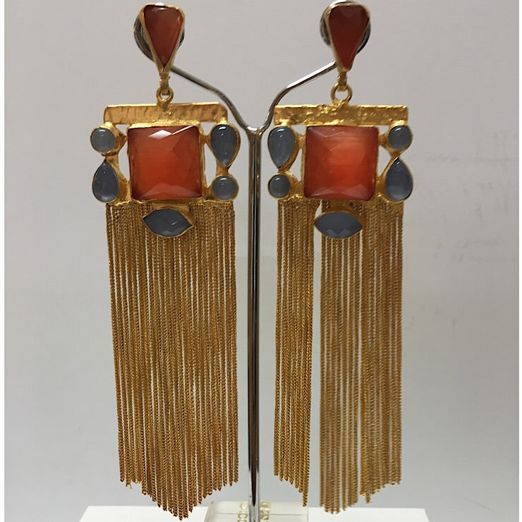 CHALCEDONY WITH GOLD CHAIN EARRINGS