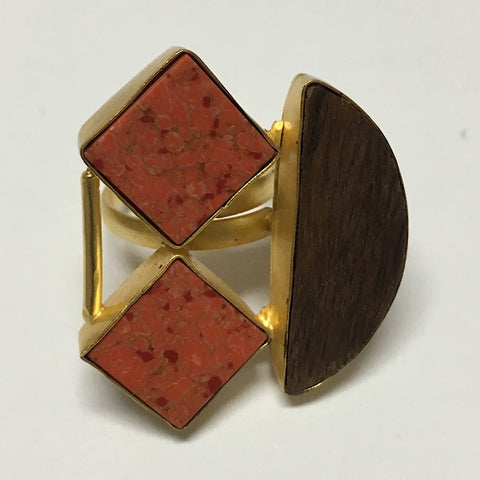 WOOD AND STONE ADJUSTABLE RING