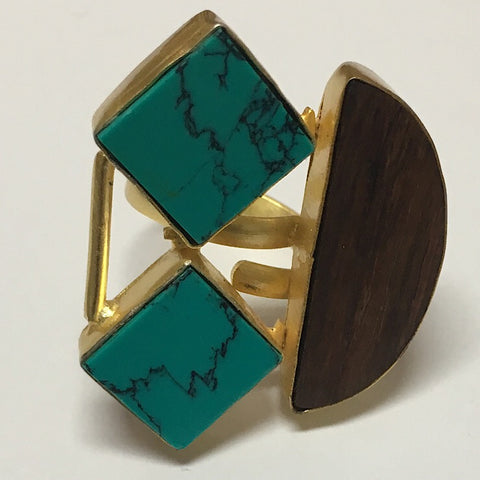 TURQUOISE AND WOOD ADJUSTABLE RING