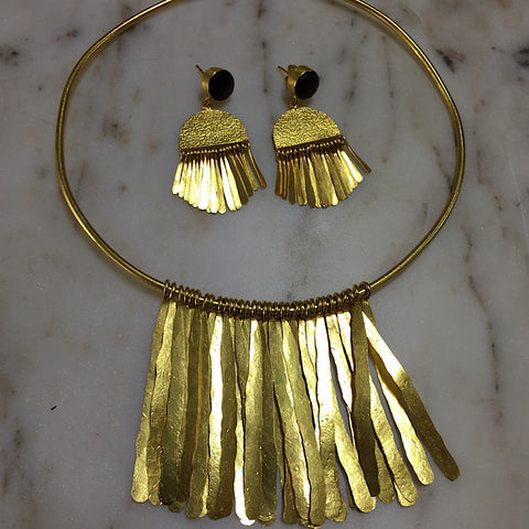 GOLD FRINGE DETAIL COLLAR NECKLACE