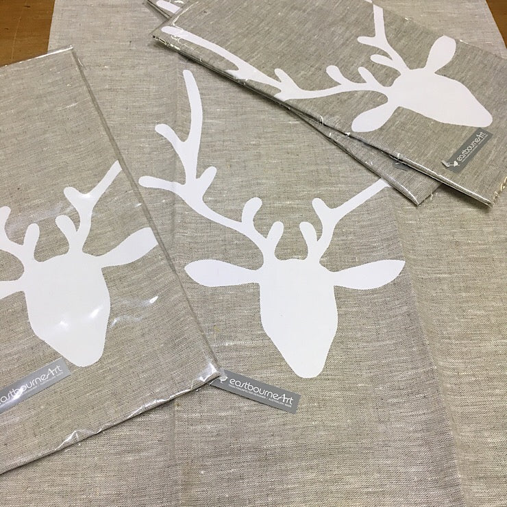 WHITE REINDEER LINEN TEA TOWEL