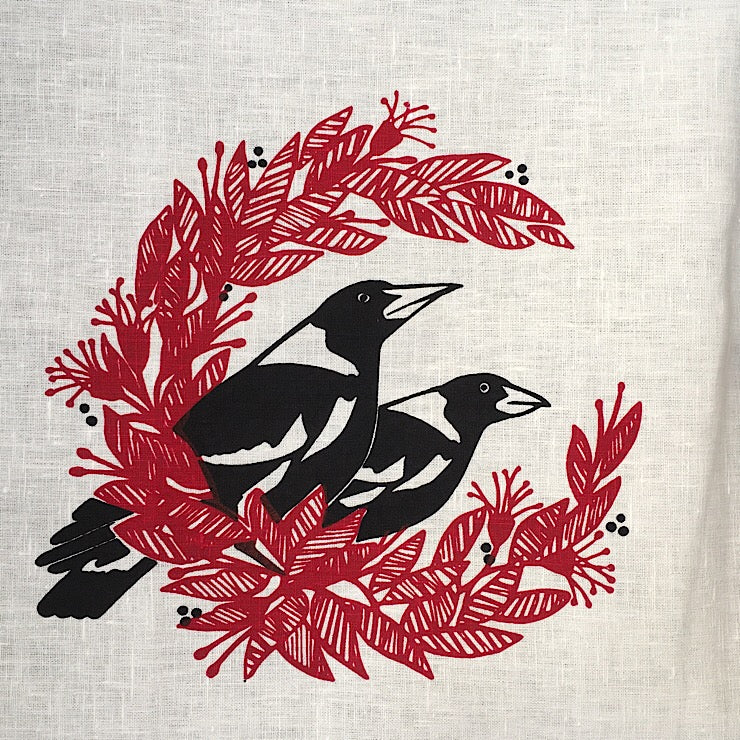 WHITE CHRISTMAS MAGPIES TEA TOWEL