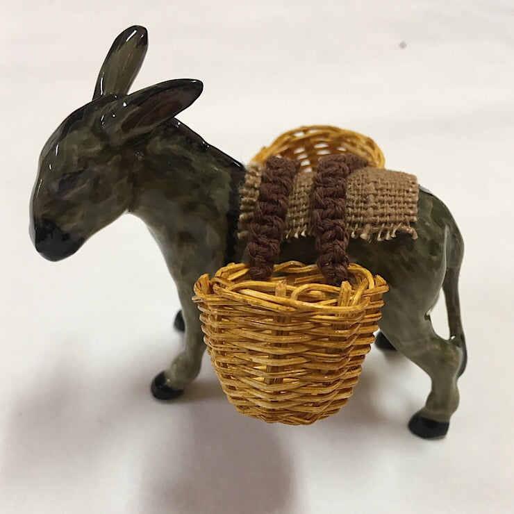 CERAMIC DONKEY CARRYING BASKETS