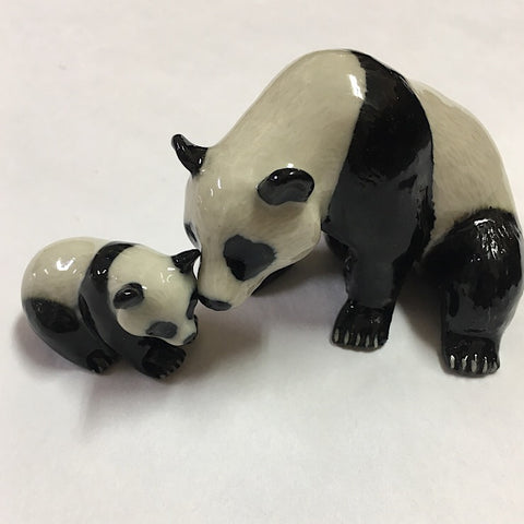 PANDA WITH CUB CERAMIC TRINKET