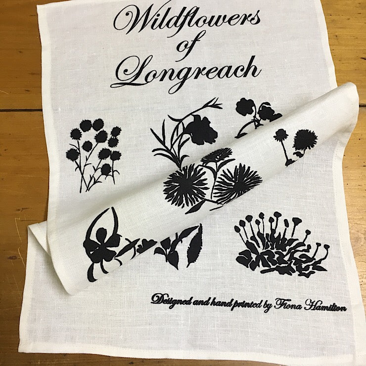 WILDFLOWERS OF LONGREACH TAUPE TEA TOWELS BY FIONA HAMILTON