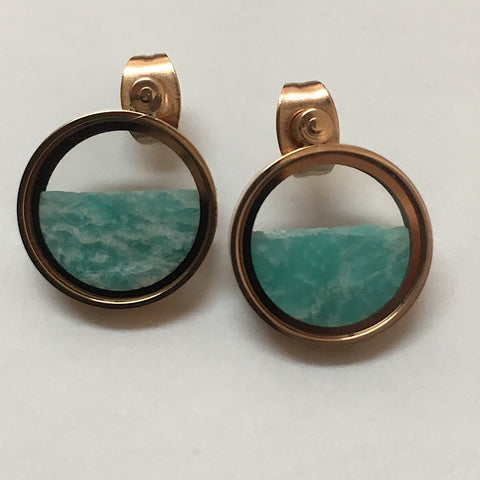 AMAZONITE IN GLASS EARRINGS