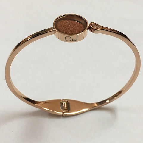 RED DESERT SAND HINGED BANGLE ROSE GOLD