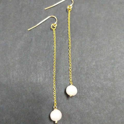 PEARLS ON LONG GOLD CHAIN DROP EARRINGS
