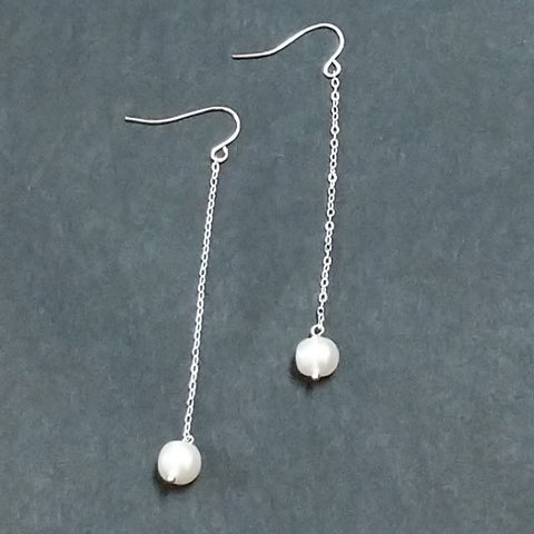 PEARLS ON SILVER CHAIN DROP EARRINGS