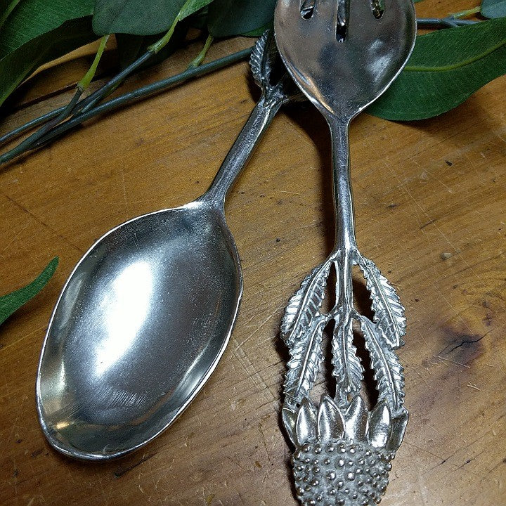 AUSTRALIAN MADE SILVER PEWTER SALAD SERVERS WARATAH