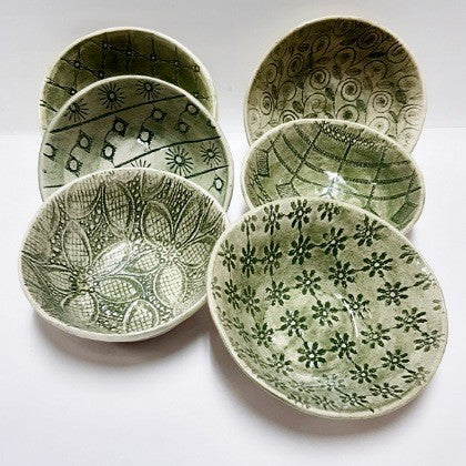 HAND MADE GREEN CERAMIC BOWL BY WONKI WARE SMALL