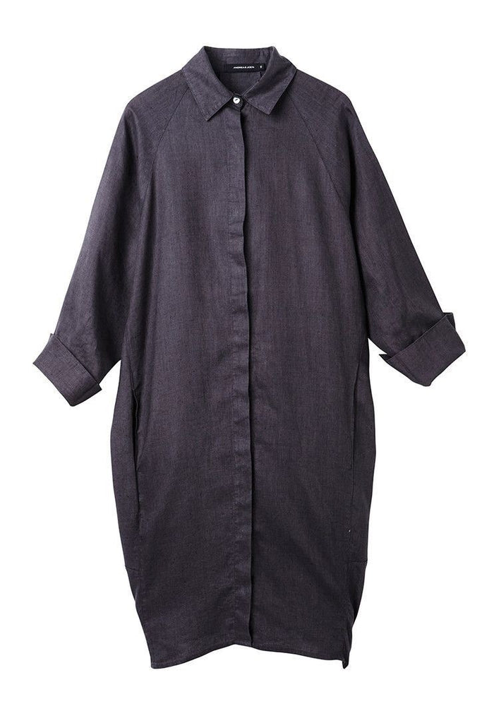 CHARCOAL LINEN SHIRT DRESS SIZE -L