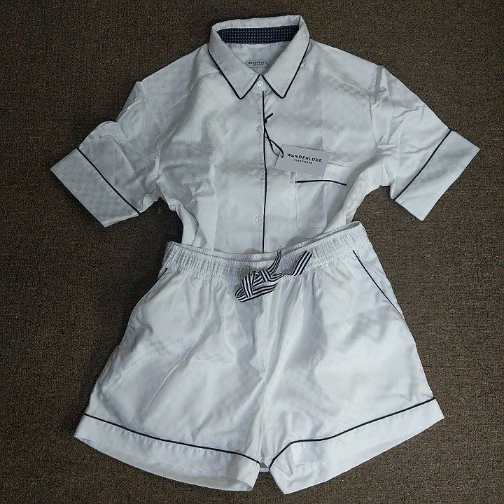 WHITE BOXER SHORT PYJAMA SET XL
