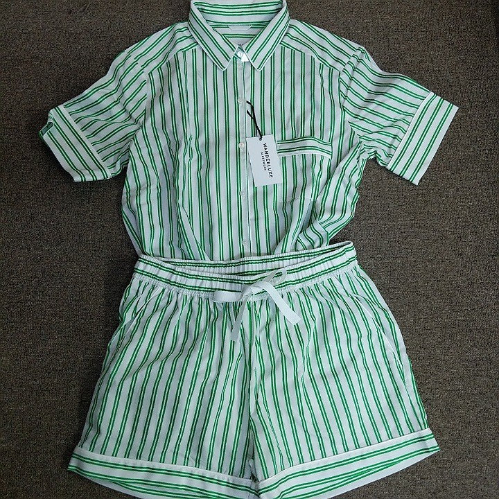 GREEN STRIPED BOXER SHORTS PYJAMA SET