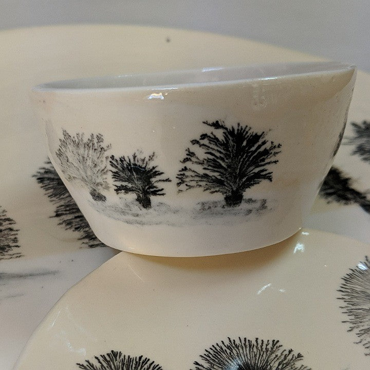 TINY CERAMIC BOWL PAINTED WITH TREES