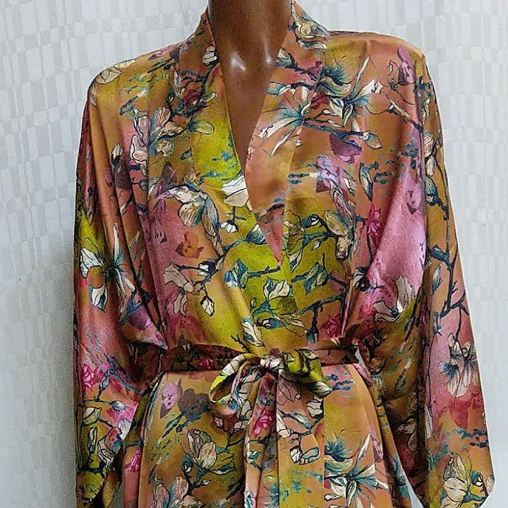SILK ROBE MAGNOLIA BLOOM XL