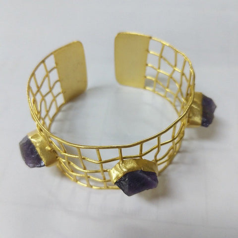 GOLD CUFF WITH CHUNKS OF AMETHYST
