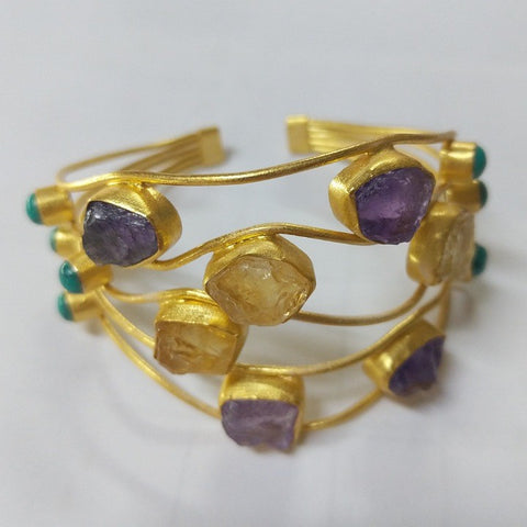 GOLD CUFF WITH CHUNKS OF AMETHYST AND CITRINE