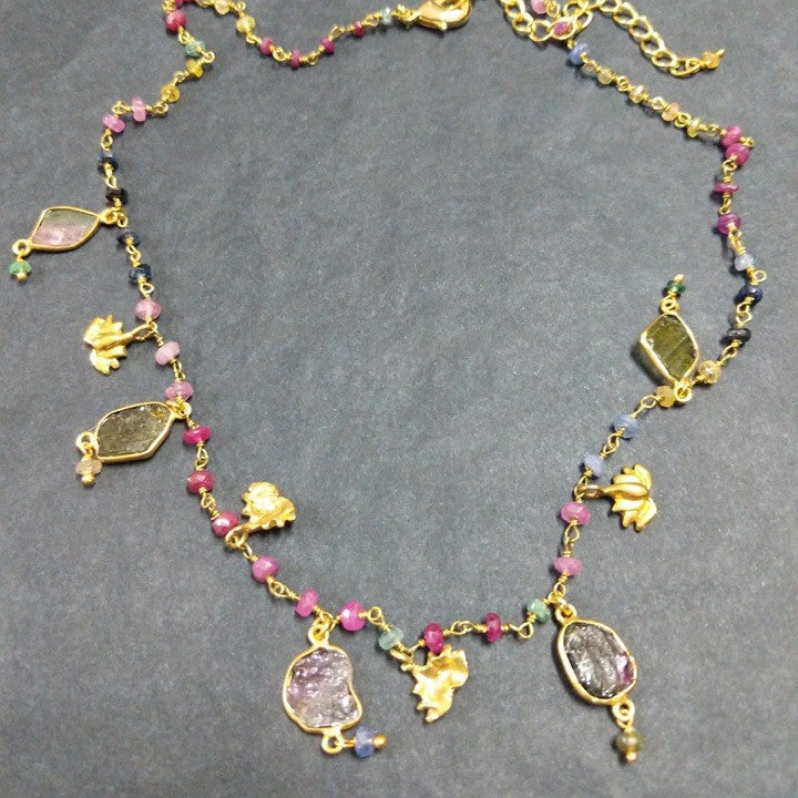COLOURED TOURMALINE CHARM NECKLACE