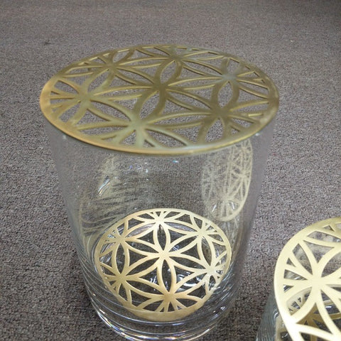 GLASS VASE WITH BRASS INSERT