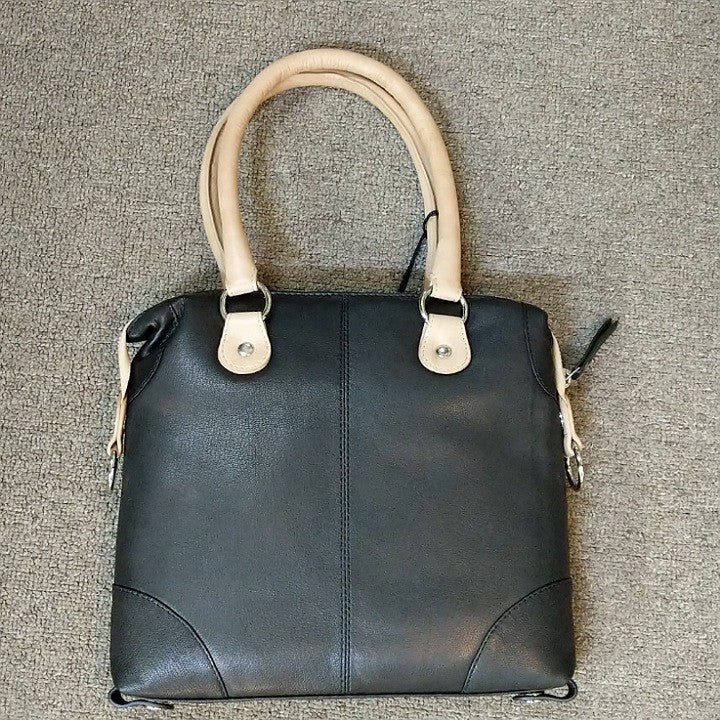 LEATHER BAG BLACK AND TAUPE SQUARE