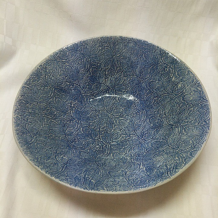 CERAMIC SALAD BOWL LARGE BLUE LACE
