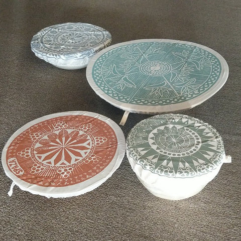DISH OR BOWL CLOTH COVER SET 4