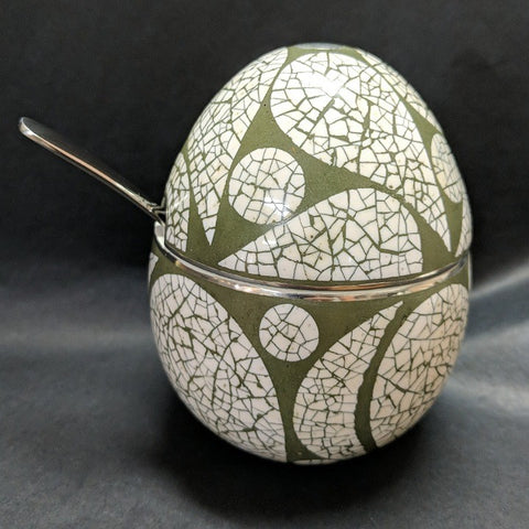 EGG SHAPED OSTRICH EGG SHELL DECORATED CONDIMENT JAR