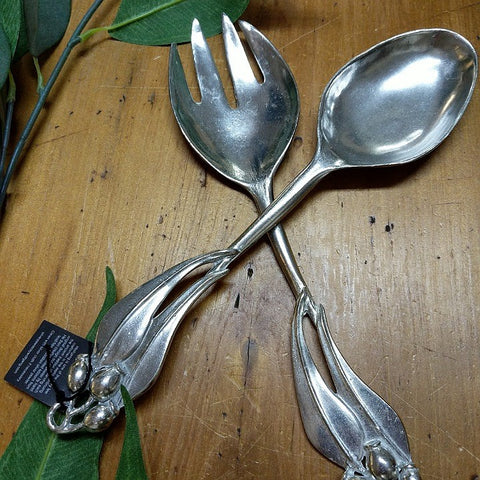 AUSTRALIAN MADE SILVER PEWTER SALAD SERVERS