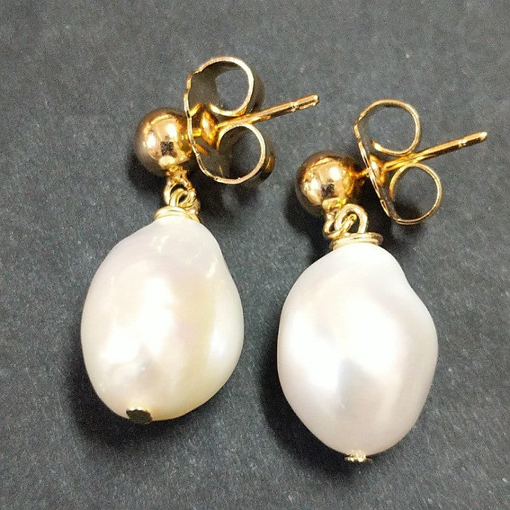 MOKO EARRINGS HANGING BAROQUE FRESHWATER PEARL STUDS