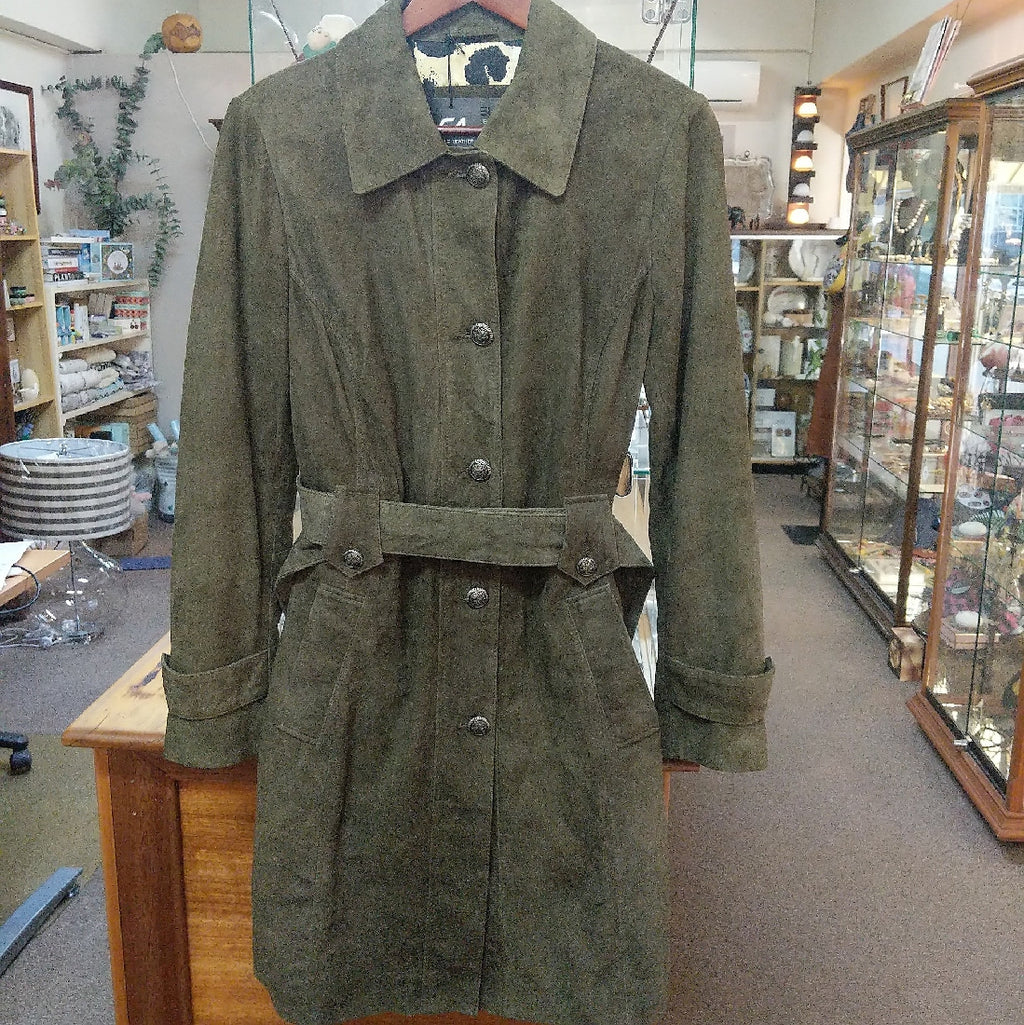 LEATHER JACKET SUEDE OLIVE TRENCH COAT CADELLE SIZE 14