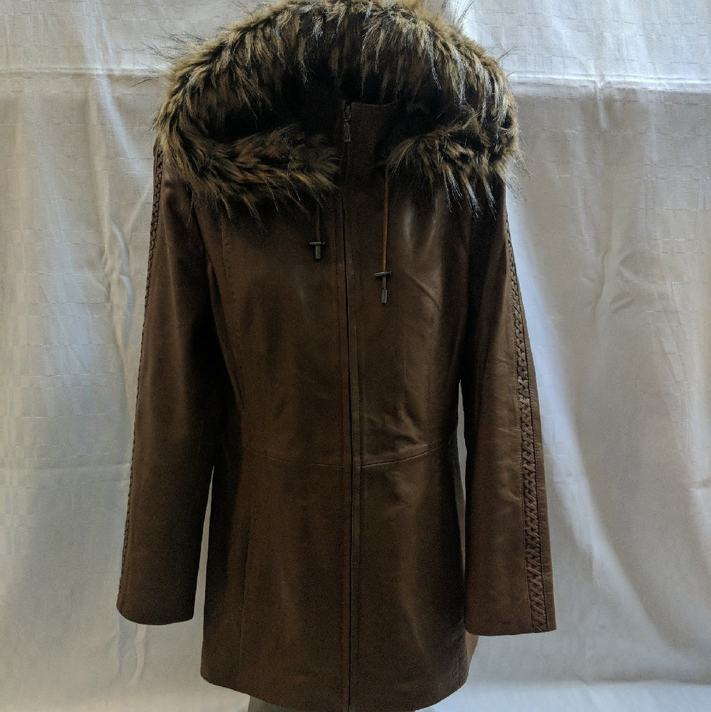 LEATHER JACKET WITH REMOVABLE HOOD FUR TRIMMED CADELLE